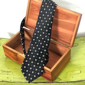 Christian Dior Vintage Black Tie Pattern Circle